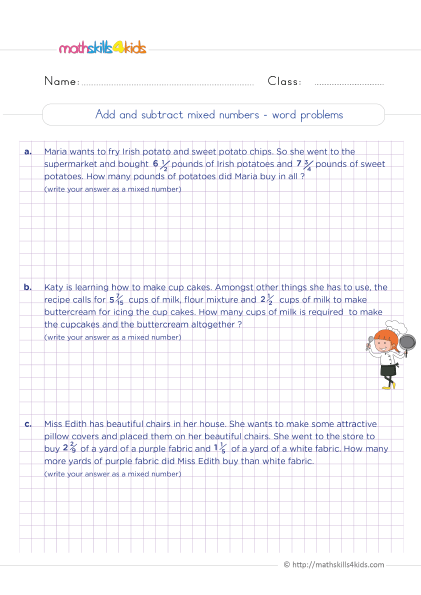 5th Grade Math worksheets with answers - Adding and subtracting mixed numbers word problems
