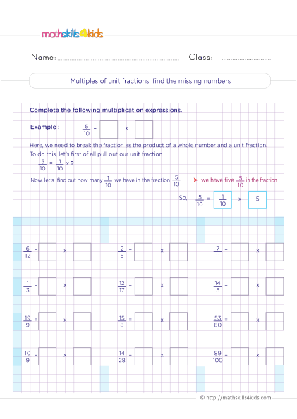 5th Grade Math worksheets with answers - multiplying unit fractions find the missing numbers