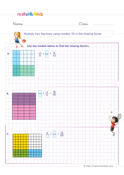 5th Grade Math worksheets with answers - Multiplying fractions using models with missing factors