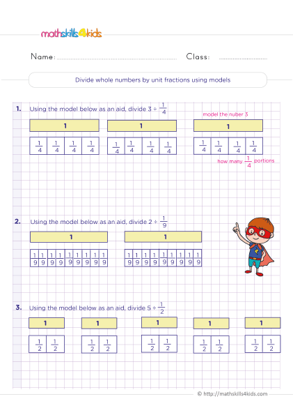 5th Grade Math worksheets with answers - dividing whole numbers by unit fractions using models