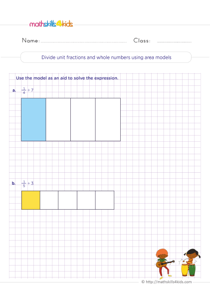5th Grade Math worksheets with answers - Dividing unit fractions with whole numbers using area models