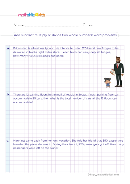 5th Grade Math worksheets with answers - Add subtract multiply divide two whole numbers word problems