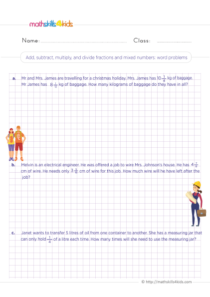 5th Grade Math worksheets with answers - Add subtract multiply divide fractions with mixed numbers word problems