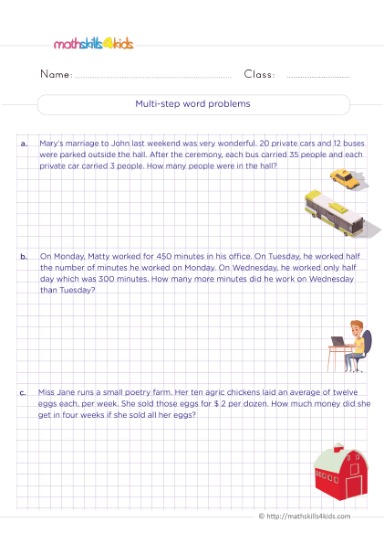 5th Grade Math worksheets with answers - How do you solve multi step word problems?