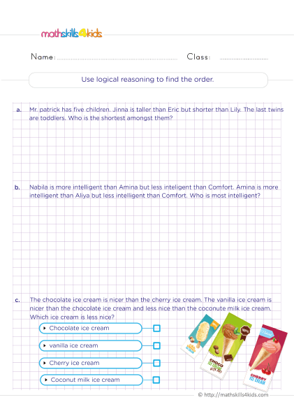 5th Grade Math worksheets with answers - Using of logical and analytical reasoning to find the order