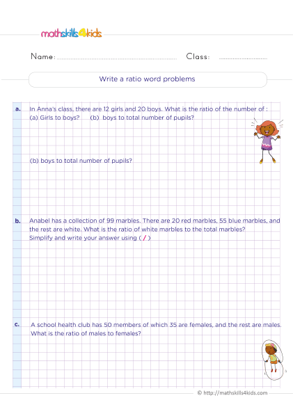 5th Grade Math worksheets with answers - Write a ratio word problems
