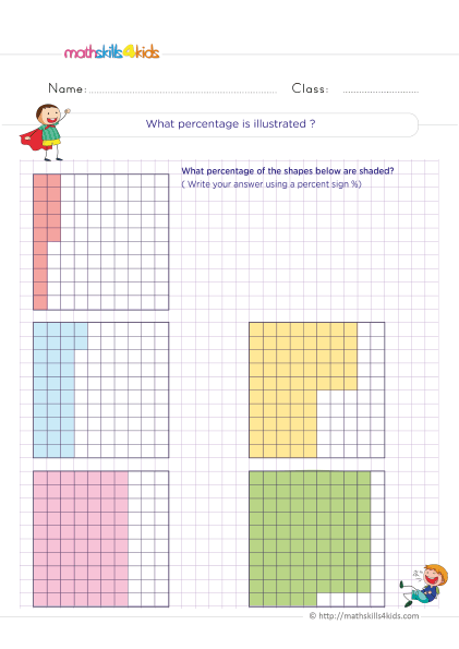 5th Grade Math worksheets with answers - Using a Grid to Model Percents - What percent of the grid is shaded?