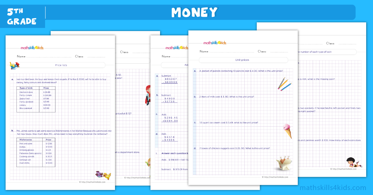 Money word problems worksheets for grade 5 - Money word problems with solutions and answers