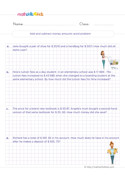 5th Grade Math worksheets with answers - Adding and subtracting money amounts word problems