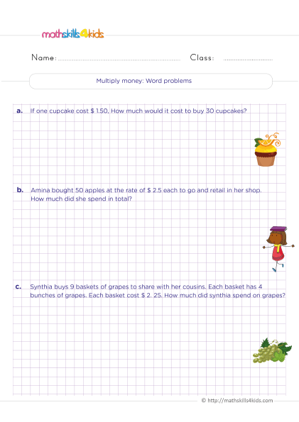 5th Grade Math worksheets with answers - How to solve multiplication money amounts word problems?