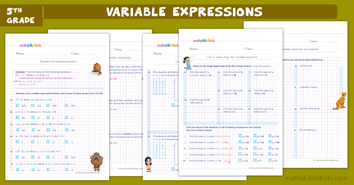 Algebraic expressions worksheets for grade 5 - Evaluating expressions with two variable worksheets