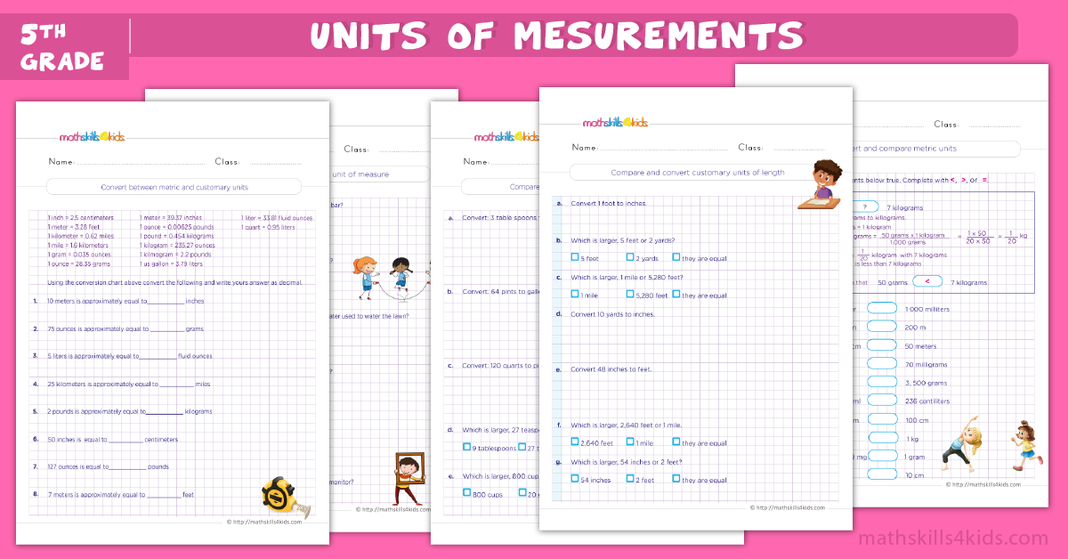 fifth grade math worksheets - Measurement Worksheets for Grade 5 with Answers