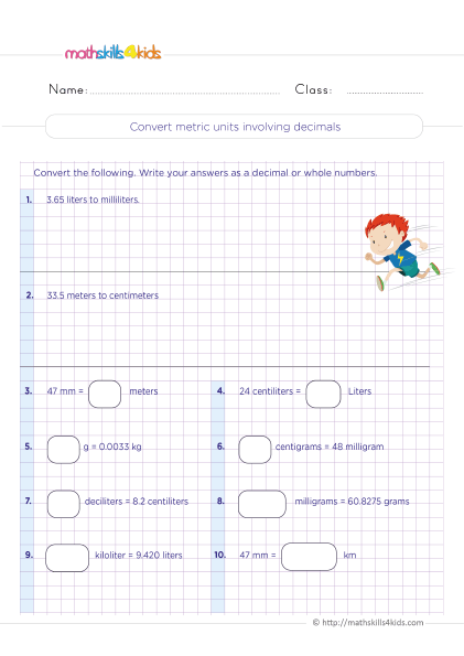 5th Grade Math worksheets with answers - Converting metric units involving decimals