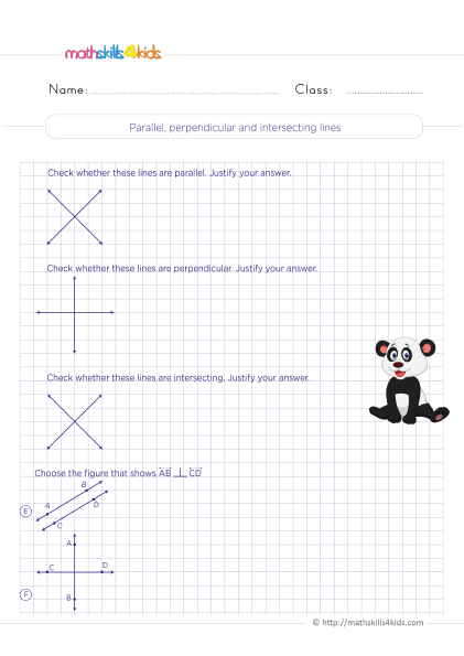 5th Grade Math worksheets with answers - Parallel, perpendicular and intersecting lines practice