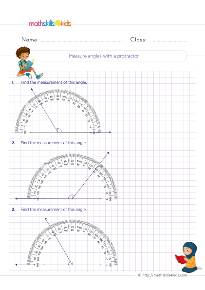 5th Grade Math worksheets with answers - Measure angles with a protractor independent practice