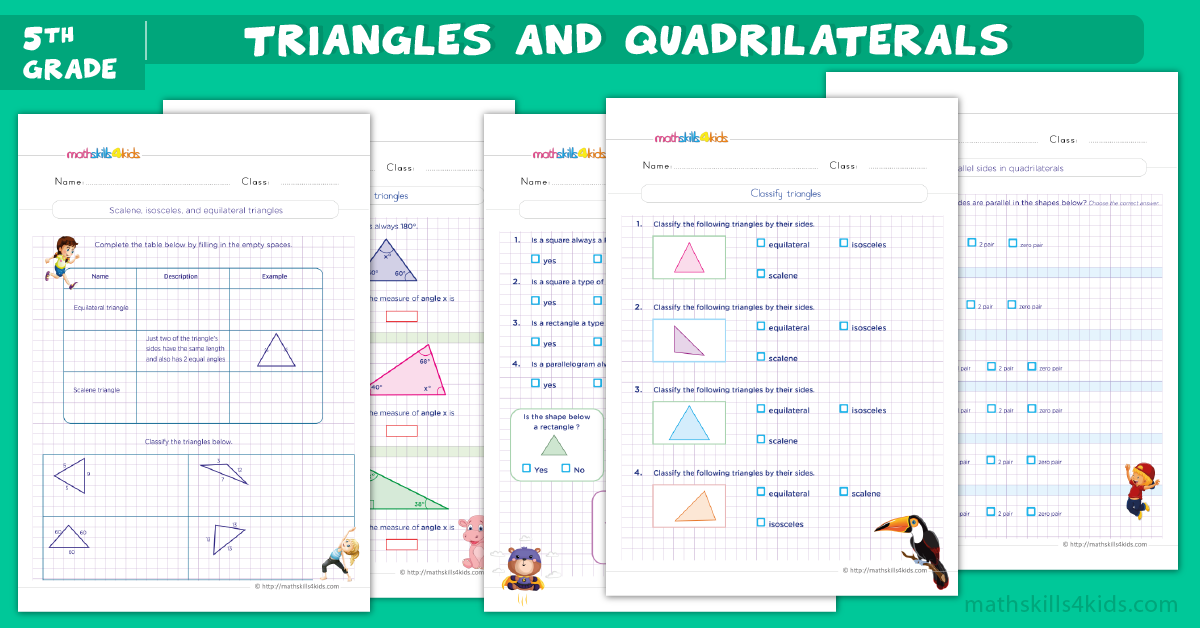fifth grade math worksheets - Triangles and quadrilaterals worksheets for grade 5pdf