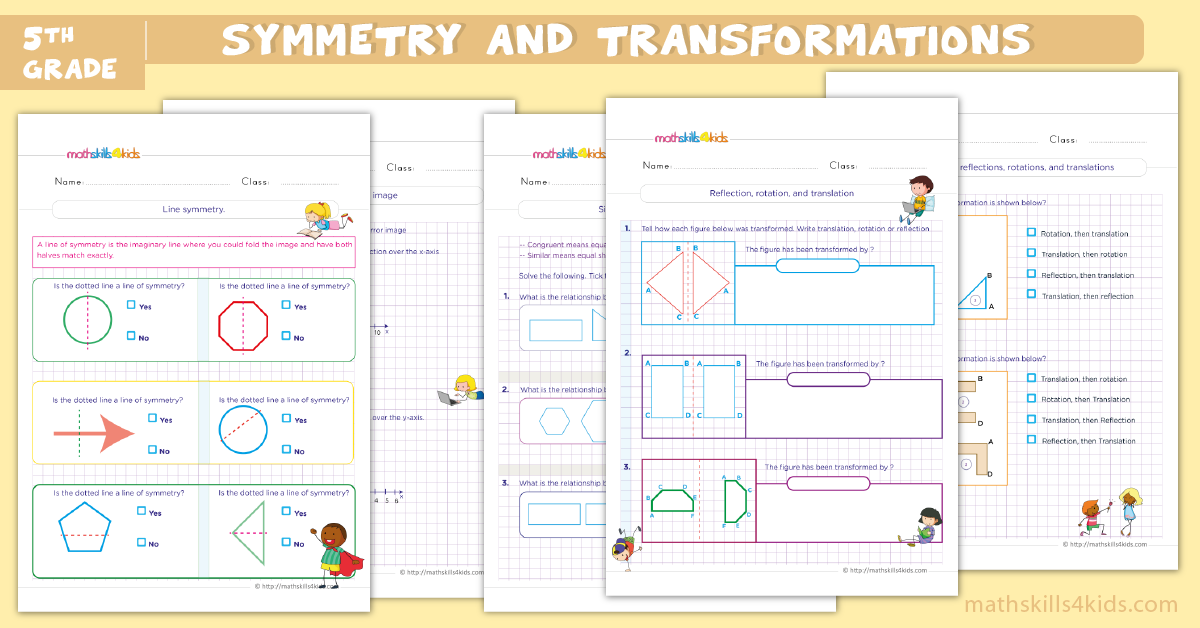 fifth grade math worksheets - 5th Grade symmetry and transformation worksheets pdf