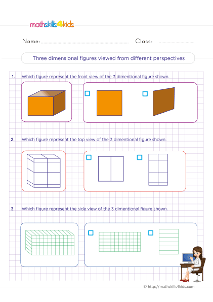 5th Grade Math worksheets with answers - Front, Top, and Side Views of 3D Shapes