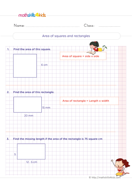 5th Grade Math worksheets with answers - Area of squares and rectangles