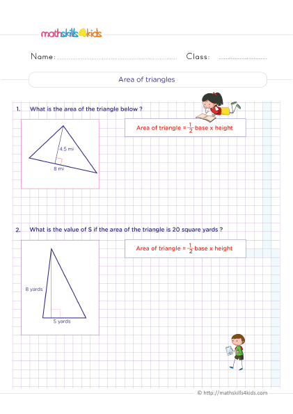 5th Grade Math worksheets with answers - Area of triangles