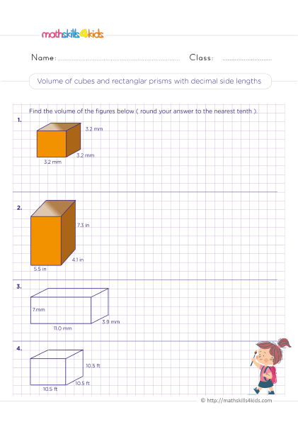 5th Grade Math worksheets with answers - volume of cubes and rectangular prism with decimals