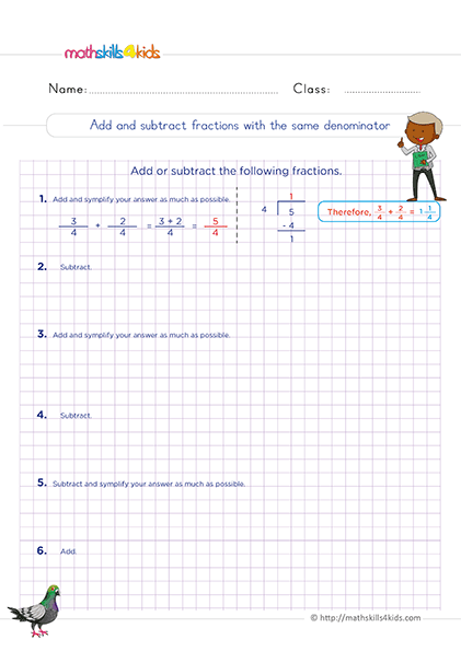 6th Grade Adding and Subtracting Fractions Worksheets PDF with Answers - adding and subtracting fractions with same denominator