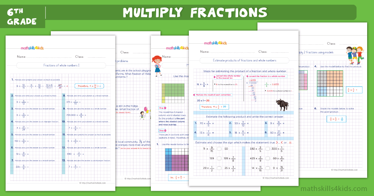 Multiplying Fractions Worksheets with Answers