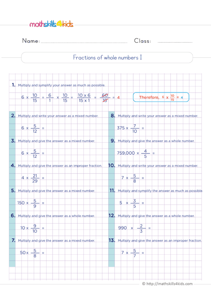 Multiplying Fractions Worksheets with Answers - fractions of whole number exercises