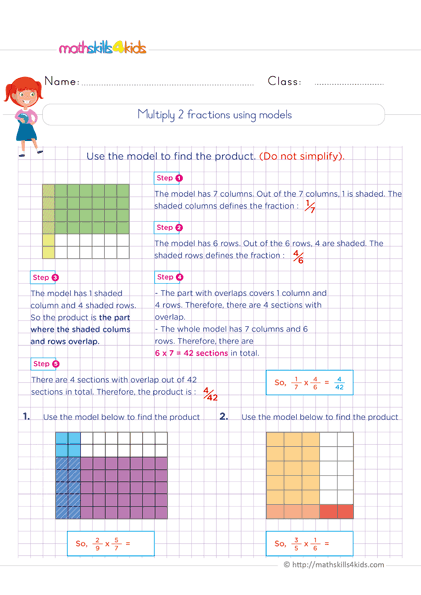 Multiplying Fractions Worksheets with Answers - multiply two fractions using models