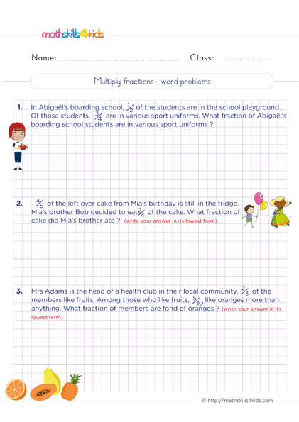 Multiplying Fractions Worksheets with Answers - Multiplication of fractions word problems