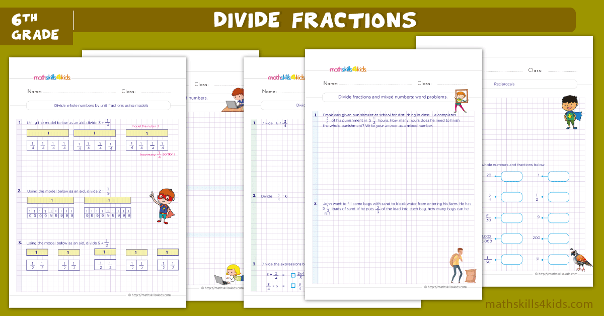 6th Grade math dividing fractions worksheets