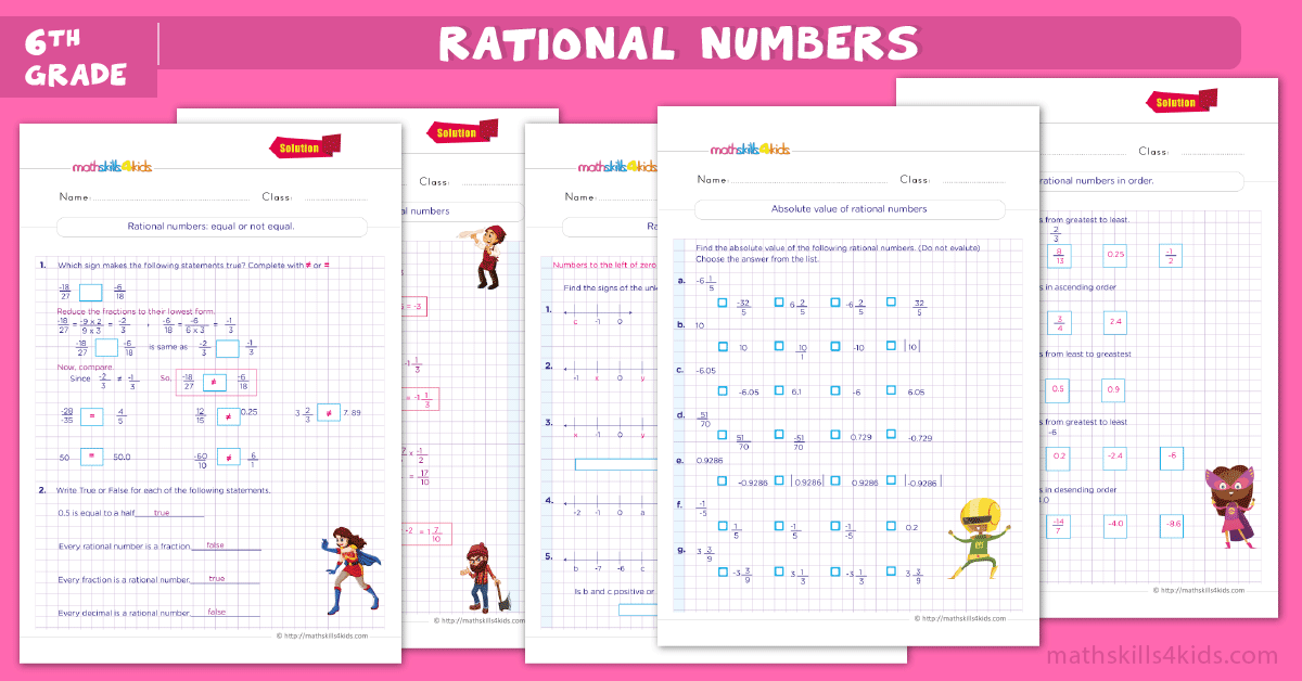grade 6 math worksheets - Rational numbers