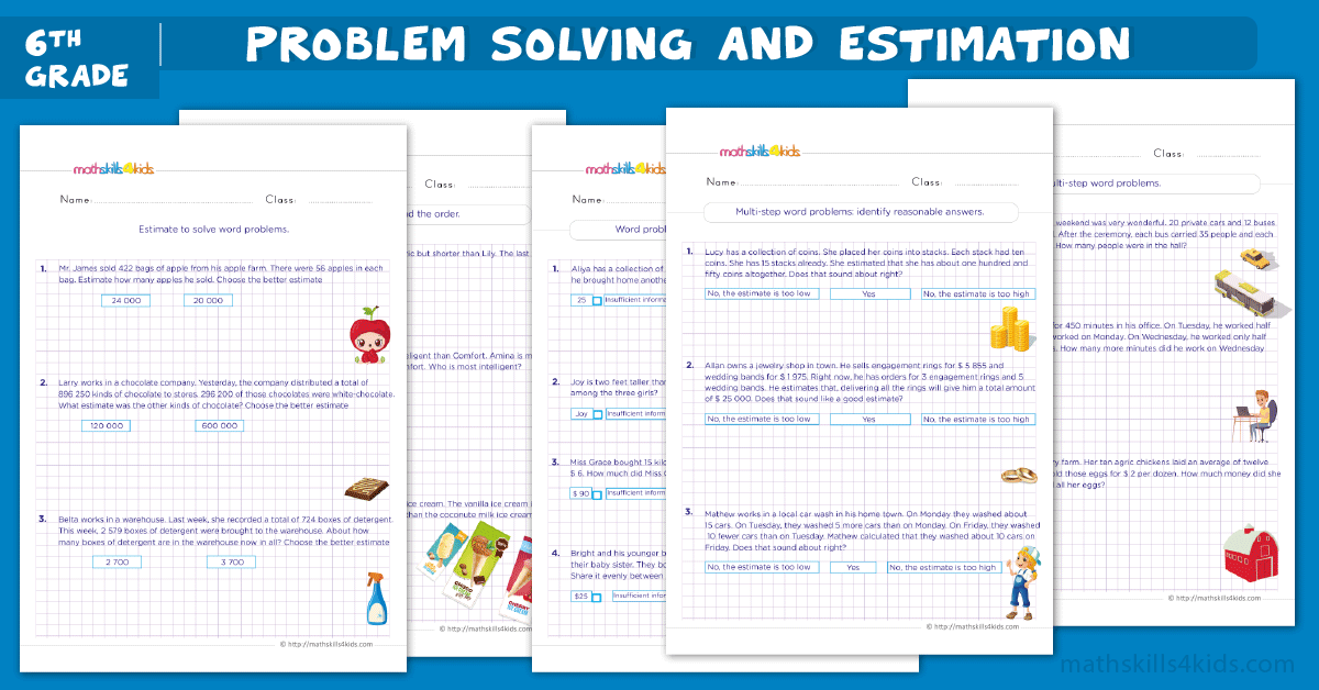 Grade 6 math word problem worksheets with answers - estimation word problems for 6th Grade