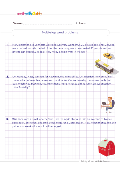 Grade 6 math word problem worksheets with answers - solving multi step word problems