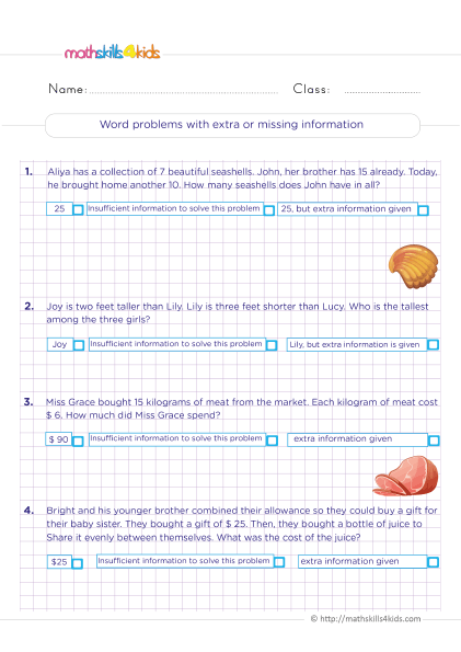 Grade 6 math word problem worksheets with answers - word problems with extra or missing information
