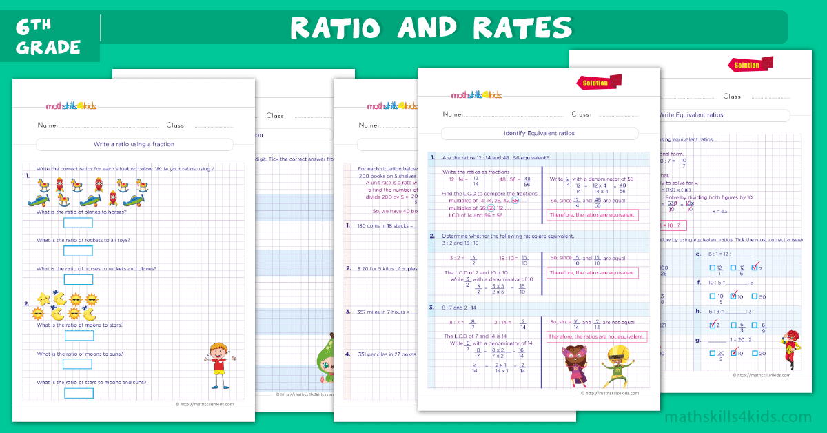 6th Grade ratios and rates worksheets pdf with answers - Grade 6 proportion worksheets