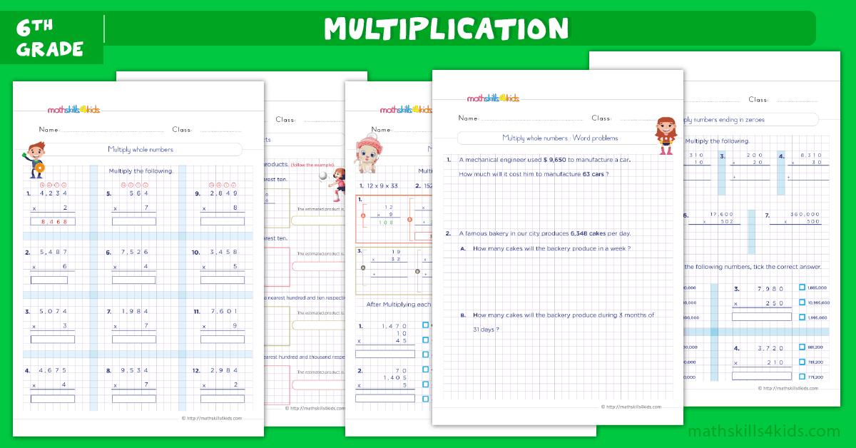 6th Grade Math Multiplication Worksheets PDF - Multiply whole numbers