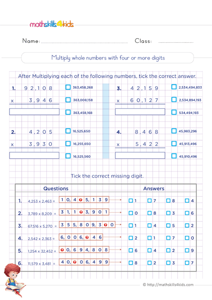 6th Grade Math multiplication worksheets - Whole numbers multiplication with more than three digit
