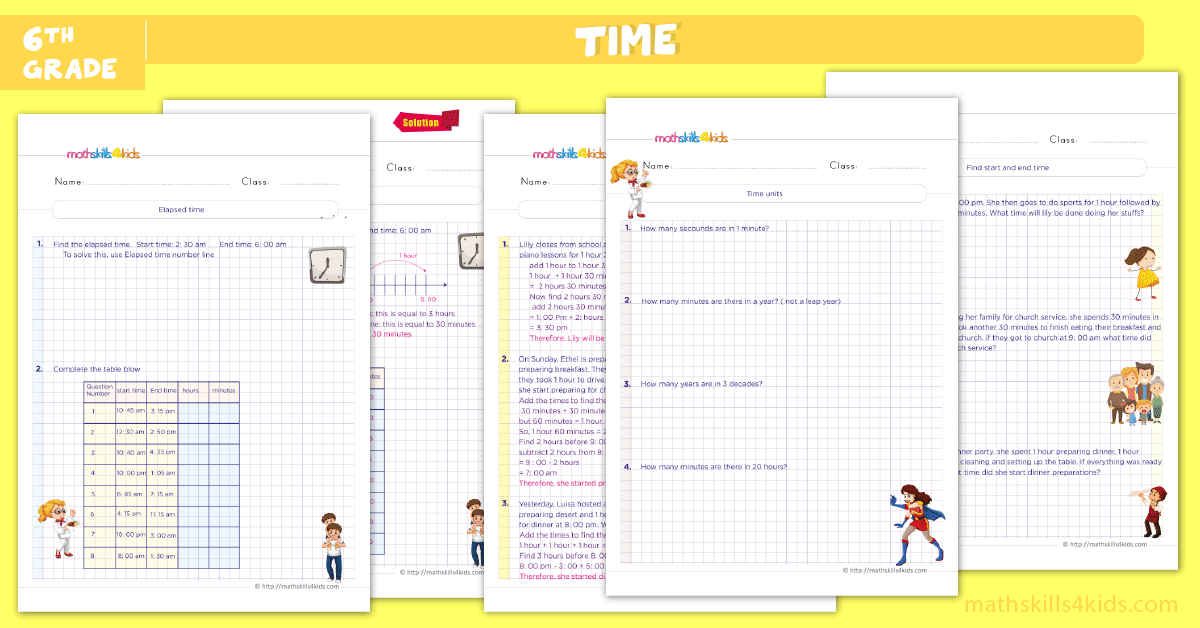 sixth grade math worksheets - telling time