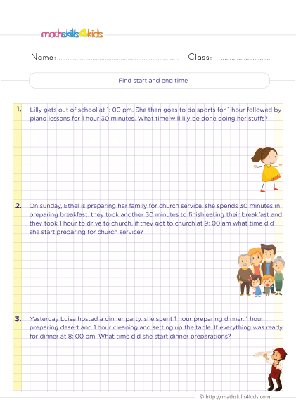 Telling time worksheets for 6th grade - find start and end time