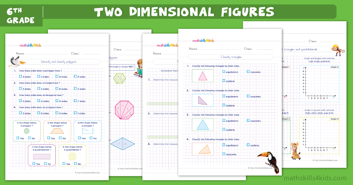 6th Grade 2D Geometry Worksheets PDF - Area And Perimeter Worksheets For  Grade 6 With Answers
