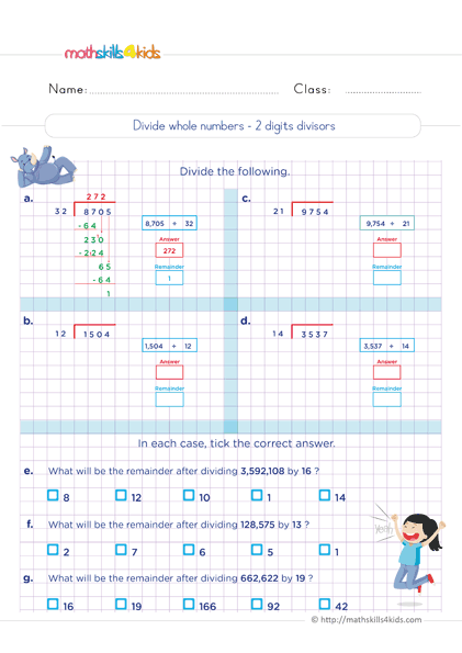 division practice - divide whole numbers 2 digits divisors worksheets