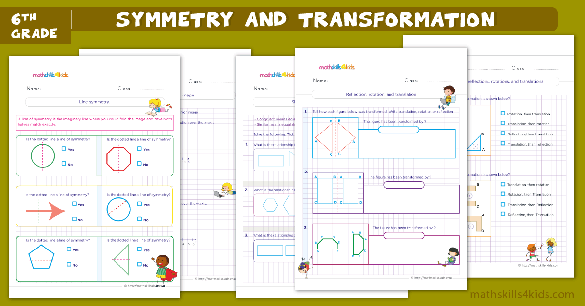 6th Grade Symmetry and Transformation Worksheets - Mixed Transformation Worksheets with Answers for 6th Grade