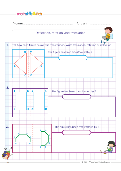 6th Grade Symmetry and Transformation Worksheets - Reflection, rotation and translation