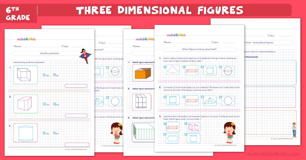 6th Grade Three Dimensional Figures Worksheet with Answers - 3D Shapes Worksheets for 6th Grade