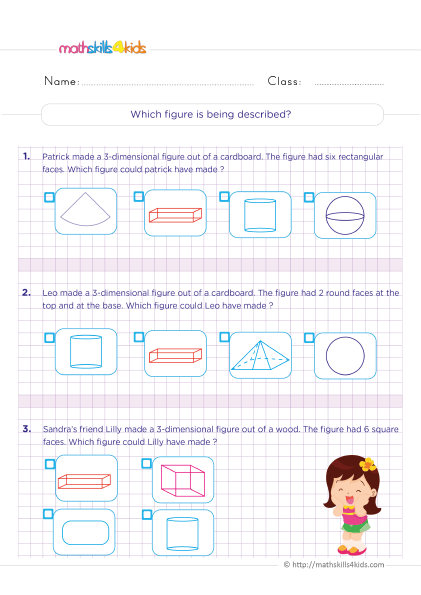 6th Grade Three Dimensional Figures Worksheet with Answers - Three-dimensional shapes and their properties