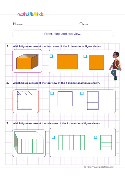 6th Grade Three Dimensional Figures Worksheet with Answers - Front side and top view of a three dimensional figure
