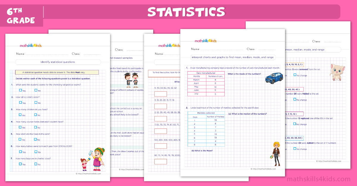 Grade 6 Statistics Worksheets PDF - Statistics Concepts Printable Worksheets for 6th Grade