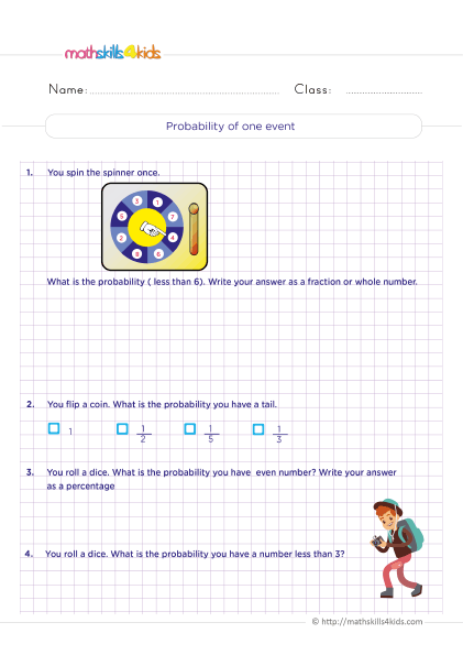 Probability Worksheets for Grade 6 with Answers - Find and calculate the probability of a single event