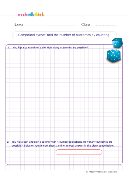 Probability Worksheets for Grade 6 with Answers - Compound events: find the number of possible outcomes